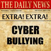 Cyber bullying background, newspaper article text poster