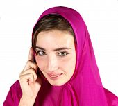 young pretty arabic girl with mobile phone