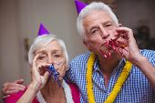 Close-up portrait of senior couple blowing party horn at home poster