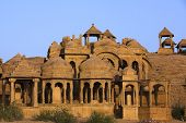 picture of jainism  - Bada Bagh Cenotaph jaisalmer in rajasthan state in india - JPG