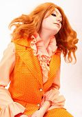 Orange Plastic Fashion Woman In Red And Auburn Beauty Throwing Hair poster