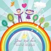 image of summer fun  - Cute children cartoon illustration  - JPG