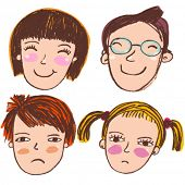 stock photo of sad boy  - Cute cartoon vector people - JPG