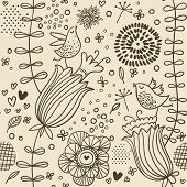 Vintage floral seamless pattern with birds