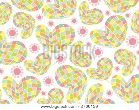 Retro Pastel Mosaic Hearts Pattern (Vector)