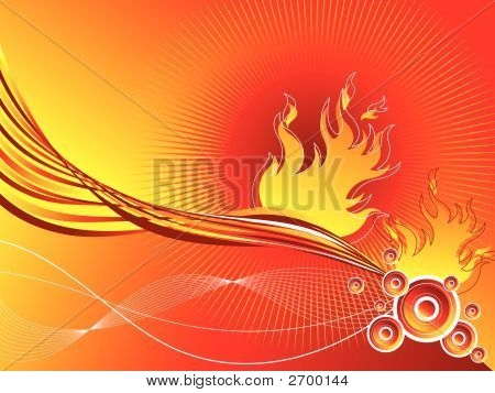 Fire Retro Circles Twist Background (Vector)
