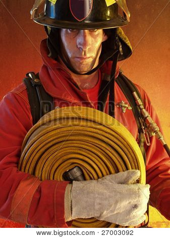 Firefighter portrait ready to work.