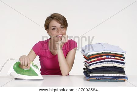 Young woman portrait after ironing.