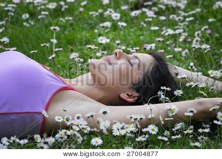 beautiful woman on white flower field.