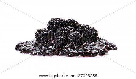 Natural blackberry jam and black berries.