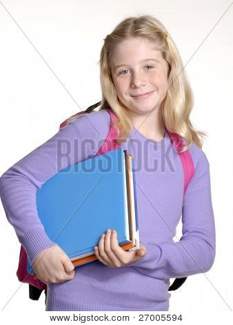 Schoolgirl portrait on white background.
