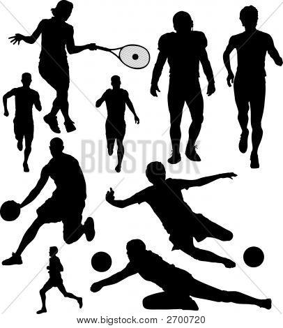 Vector de siluetas de deportes