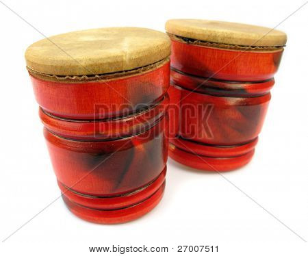 Red wooden drums