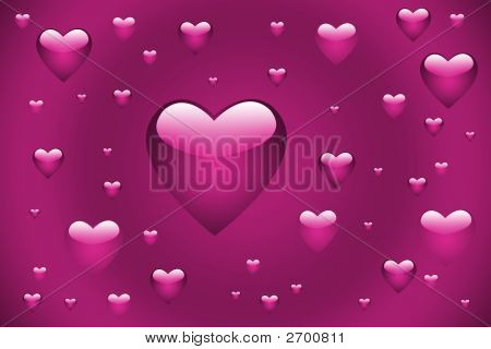 Pink Floating Hearts