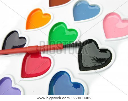 Watercolors pallete hearts