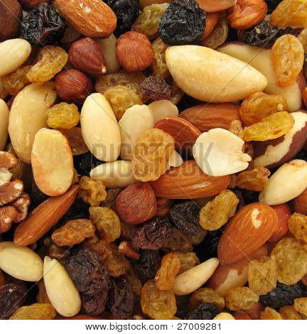 Snack food nuts and raisins
