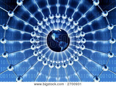 Concepto de red en todo el mundo