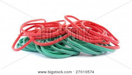 Red and green rubber bands