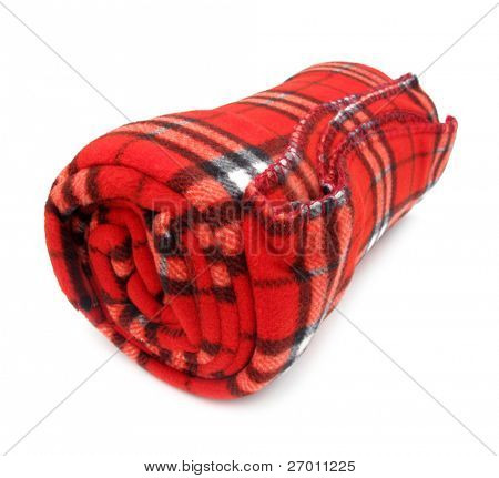 Decke Wolldecke rot gerollt