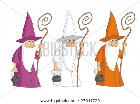 Sorcerer mag magician vector illustration cartoon