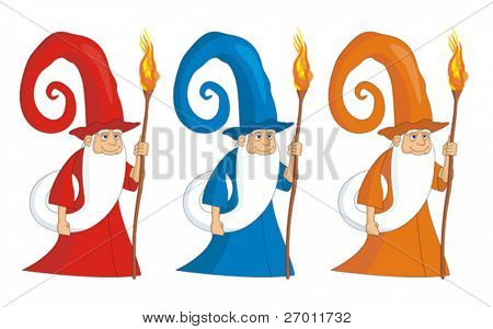 Sorcerer mag magician vector illustration cartoon