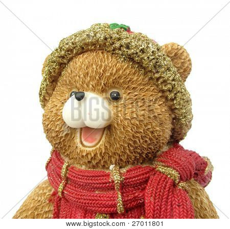 Teddy bear head Christmas figurine