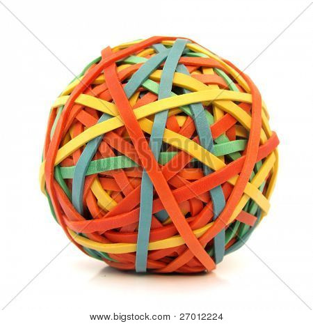Ball made of colorful rubber bands