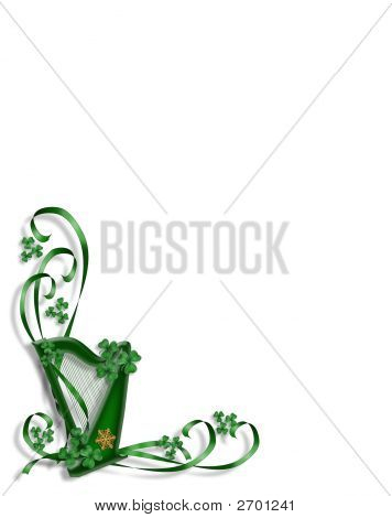 St Patrick'S Day Celtic Harp Corner Design