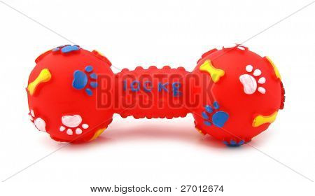 Bone rubber toy for dogs red with blue paw