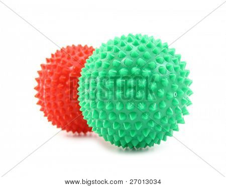 Balls red and green with pins