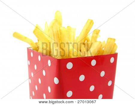 French fries potato in red box with white spots