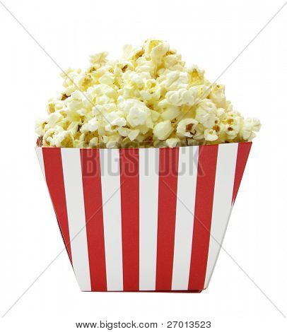 Popcorn red and white cardboard box for cinema