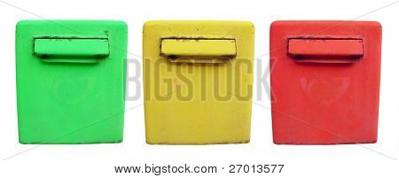 Three post boxes metal vintage green, yellow and red