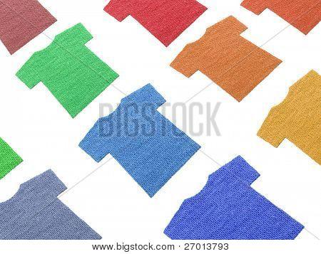 T-shirts shaped textile cotton samples