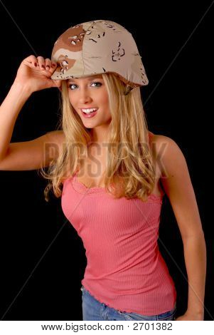 Blond Girl Wearing A Soldier'S Helmet