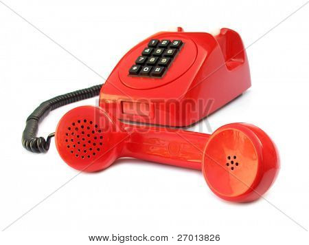 Open telephone vintage red lovely phone from 1970s
