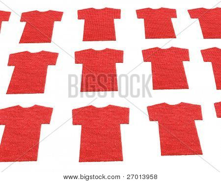 Red T-shirts shaped textile cotton samples