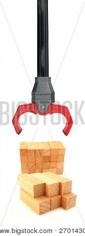 Robotic hand extending grabber grabbing wooden blocks