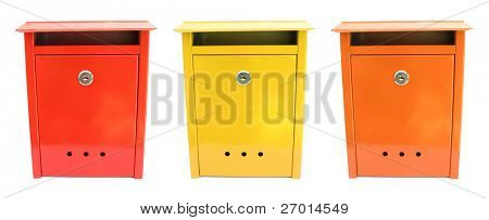 Three lovely mailboxes red yellow orange