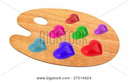 Palette for painting wooden with colorful hearts of love