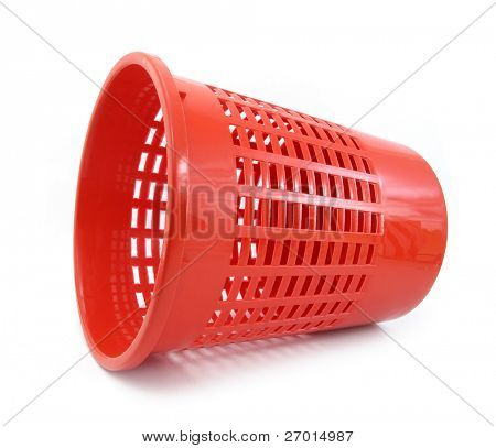 Wastebasket red plastic horizontal
