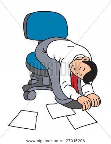 Tired business man sleeps on chair