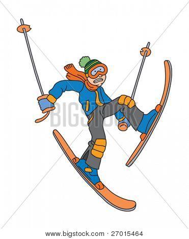 Homem é esqui cartoon ilustração em vetor