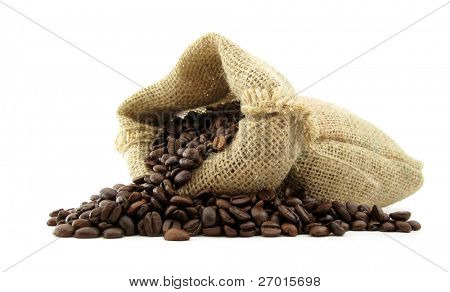 Coffee beans roasted in jute sack