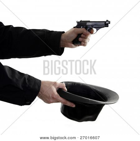 Efficiently begging with handgun and hat