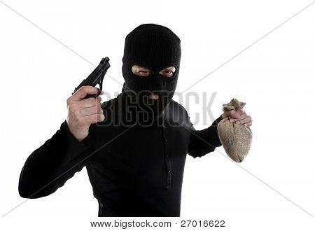 Masked man robber with gun and money bag