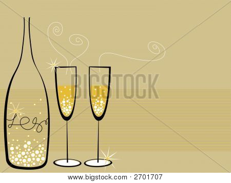 Champagne Bubbles Celebration (Vector)