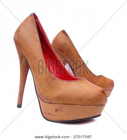 Brown vintage high heels pump shoes