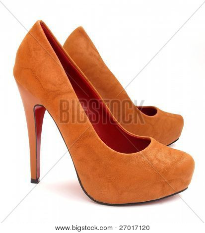 Brown high heels pump shoes