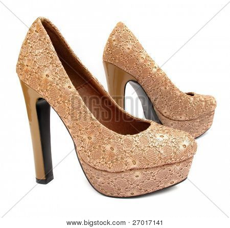 Beige high heels pump shoes